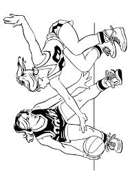 dessin à colorier de deux joueuses adverses de basketball en plein