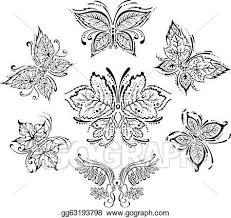 vector symmetrical floral butterflies clipart drawing