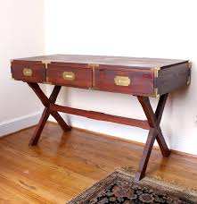 Campaign Style Desk Dark Stained Pine Campaign Style Desk Ebth