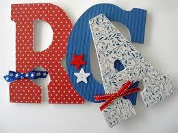 red white u0026 blue custom decorated wooden letters nursery name