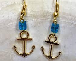 anchor earrings gold anchor earrings etsy