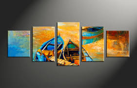 Home Artwork Decor 5 Piece Boats Ocean Oil Paintings Yellow Canvas Wall Decor