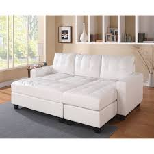 Tufted Sofa With Chaise by Acme Lyssa Reversible Chaise Sectional And Ottoman Bonded Leather