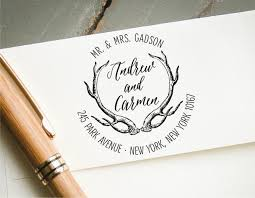 Save The Date Stamp Round Self Inking Return Address Stamp Personalized Antlers