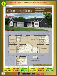 New Home Floor Plans And Prices Carrington Rochester Modular Home Ranch Plan Price