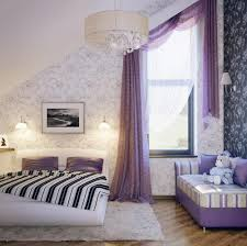 pretty girls attic bedroom design with lovely purple curtain and