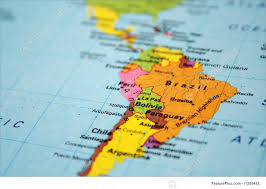Map Of The South America by Signs And Info Map Of South America Continent Stock Picture