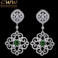wedding earrings drop cwwzircons 2017 new arrival vintage cubic zirconia drop