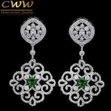 wedding earrings drop cwwzircons 2017 new arrival vintage cubic zirconia drop