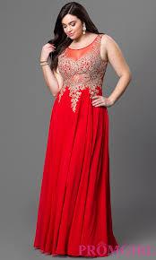 long sheer back sleeveless prom dress promgirl
