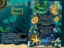 mermaid pirate party mermaid sea party invitations