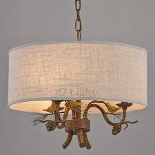 drum shade chandelier 3 light bird decoration