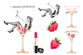 martinis clipart birthday clipart party fashion illustration bridal shower