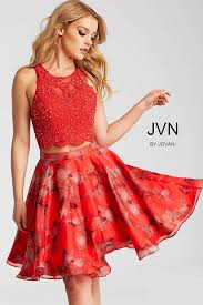 red floral fit and flare two piece short chiffon dress