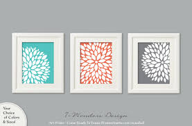turquoise coral grey flower bursts art prints dahlia wall art