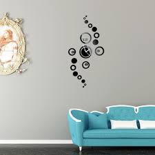 Modern Bedroom Wall Clocks Creative Diy Round Mirror Effect Glass Wall Clock Modern Design