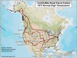Canada And United States Map by Road Trip Two Maps For Living In 70 F Comfort Every Day Of The