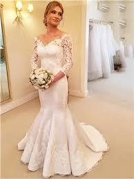 robe mari e sirene dentelle manche3 4 robe de mariée pas cher en ligne fr tidebuy