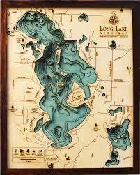 Lake Winnebago Map Custom Wood Charts Of Long Lake From Carved Lake Art Nautical