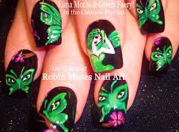 robin moses nail art green fairy butterfly moth nails