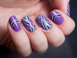 purple periwinkle and points freehand chevron nail art