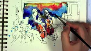 watercolor and ink sketch painting demo youtube