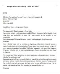 scholarship thank you note sample 6 examples in word pdf