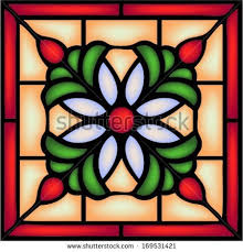 stained glass window ornament with decorative berry and