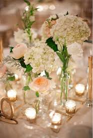 White Hydrangea Centerpiece by When Pretty Pink Or Champagne Roses And White Hydrangeas Are