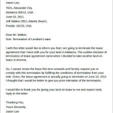 Termination Of Lease Letter Best Tenant Lease Termination Letter U2013 Letter Format Writing