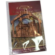village or town ornament gift carved by laser olive wood 7 cm