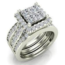 halo wedding rings images Princess cut quad halo wedding ring set w enhancer bands bridal jpg