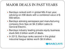 Investment Banking League Tables Barclays Investment Bank