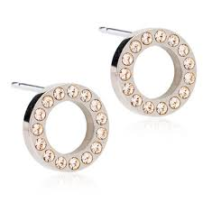 blomdahl earrings brilliance puck hollow golden blomdahl