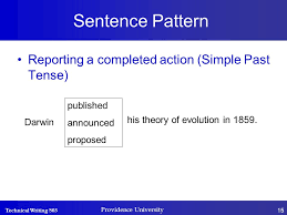 write the pattern of past tense and give exle providence university college of management calculating and