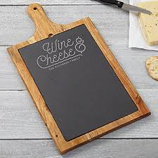 personalized cheese board personalized slate wood paddle wine cheese board