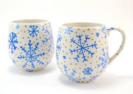 simple hand painted snowflake winter mugs ilovetocreate