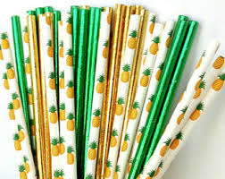Paper Pineapple Decorations Pineapple Straws Etsy