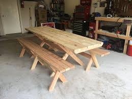 Wooden Bench And Table Picnic Table With Detached Benches 9 Steps With Pictures