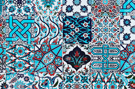 seamless pattern white turkish tiles with blue flower ornaments