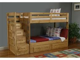 bedroom unpolished teak wood loft bed with ladder and crossed