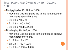 multiplying and dividing by 10 100 and 1000 worksheet decimals
