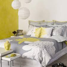 bedroom chevron pattern gray yellow bedding idea and fluffy fur