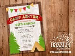 printable rustic camping birthday invitation backyard sleepover