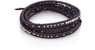 double beaded bracelet images Lyst chan luu sterling silver leather beaded double row wrap jpeg