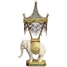 Porcelain Elephant French Porcelain And Bronze Elephant Lamp At 1stdibs