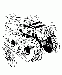 monster truck is very fast coloring page for kids transportation