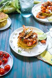 Red Kitchen Recipes - corn cakes with shrimp and tomatoes the in the little red