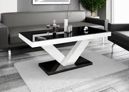 Wohnzimmer Tisch Hoch Design Couchtisch Hv 888 Schwarz Weiß Hochglanz Highgloss Tisch