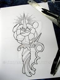 traditional dagger and rose tattoo design by thirteen7s on deviantart